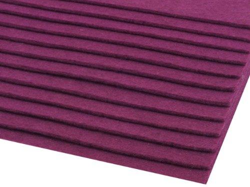 Dekorativer Bastelfilz 20x30cm DIN A4 - 400g/qm - Stärke 2-3mm - 12 Bögen farbig sortiert - 3 verschiede Farben-Mixe oder pur Farben wählbar (lila)