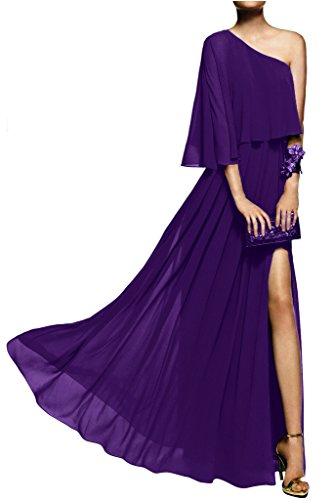 Gorgeous Bride Einfach Ein-Traeger Lang Etui Chiffon Schlitze Abendkleider Ballkleider Prom Kleider Z-Lila
