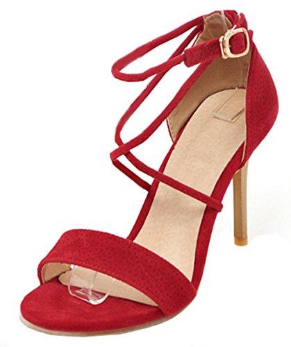 Aisun Damen Römisch Offene Zehe Gekreuzt Spange Knöchelriemchen Stiletto Sandale Rot