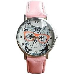 SKY Gato patrón de cuero banda analógica cuarzo vogue reloj de pulsera (Rosado)