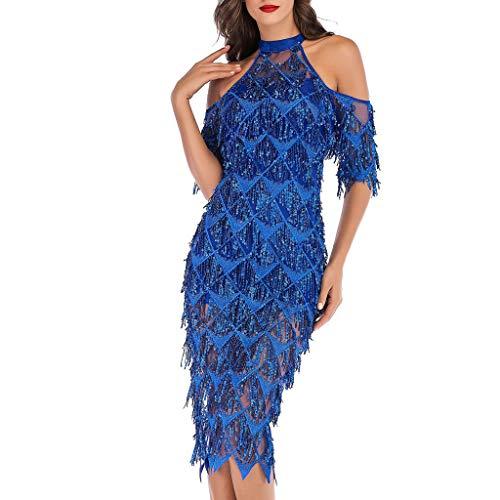 (Schulterfrei Paillettenkleid Cocktail Abendkleid A-Linie Slim Fit Partykleid Minikleid Abend Prom Kostüm Dress 1/2 Ärmel Quaste Bodycon Kleid Cocktailkleid Neckholder Resplend)