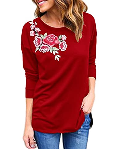 Auxo Women Autumn Embroidered Flower Long Sleeve Casual Loose Pullover
