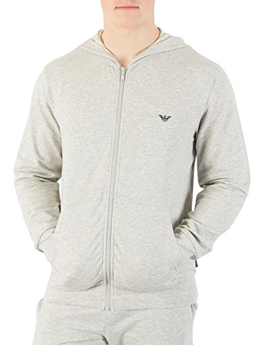 Emporio Armani Herren Zip Loungewear Oberteil, Grau Grau