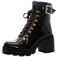 Women Chunky Platform Shoes Zip Goth Punk Buckle Ladies Lace Up Ankle Boots Size 3-8