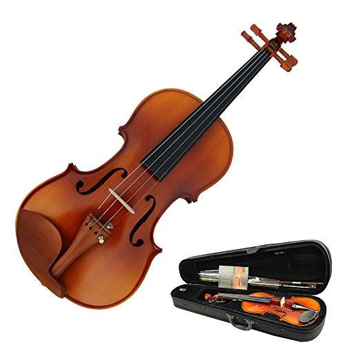 Violino Violino di alta classe con custodia rigida in legno massello di abete naturale lucido Finitura acustica Kit di violino naturale con campana arco per principianti di studenti Full Size 4/4, 3/4