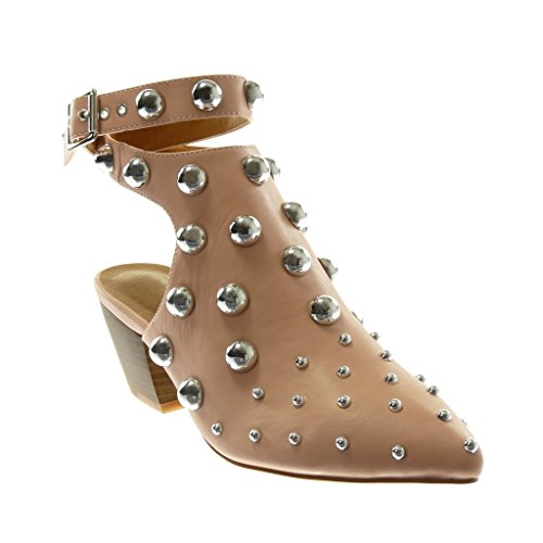 Angkorly Chaussures Mode Bottines Chaussures Sandales Open-back Femmes Studded Perle String High Block Talon 6.5 Cm Rose