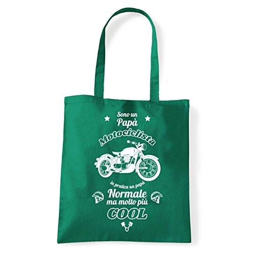 Art T-shirt, Borsa Shoulder Papà Motociclista, Shopper, Mare Verde