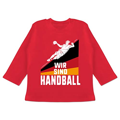 Handball WM 2019 Baby - Wir sind Handball! Deutschland - 3-6 Monate - Rot - BZ11 - Baby T-Shirt Langarm