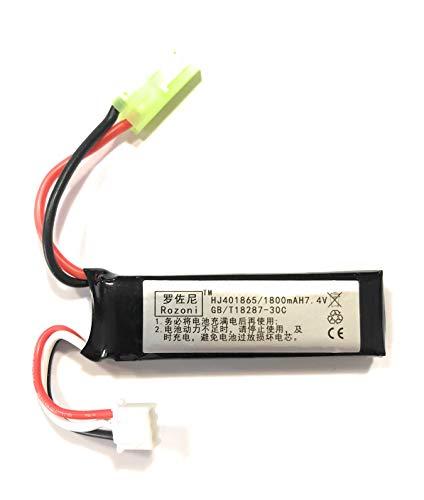 WLtoys YUNIQUE France ® 1 Piece Batteries pour Airsoft Li-Po 7.4V 1800mAh 30C pour M4 Grue Stock M110 SR25 AK47 MP5K MP5 Scar M249 M240B M60 G36 M14 RPK PKM L85 AUG G3