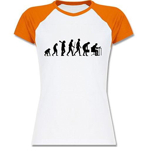 Shirtracer Evolution - Computer Evolution - Zweifarbiges Baseballshirt/Raglan T-Shirt für Damen Weiß/Orange