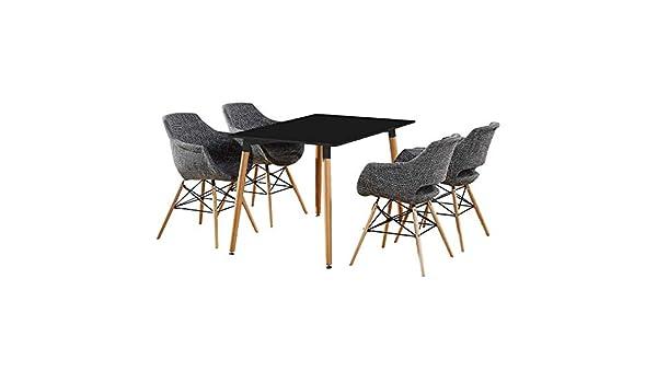 P&N Homewares Table à Manger Blanche + 4 Chaises Gris