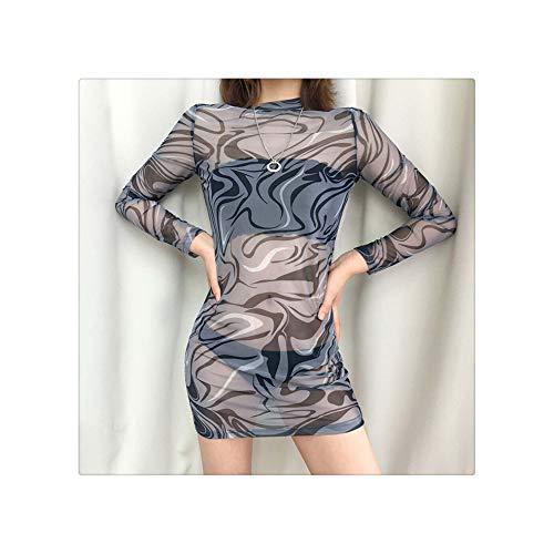 Fashion Womens Mesh Sheer Bodycon Pencil Long Sleeves Mini Dress See-Through Ladies Turtleneck Summer Casual Clothing S-L Gray M