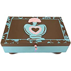 Schokolade Braun und Blau Parfüm Thema Diva Dresser Eitelkeit Dekor, holz, chocolate, brown, blue, pink, Jewelry Box