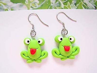 boucles d'oreille femme enfant originale grenouille verte, bijou pate fimo rigolo