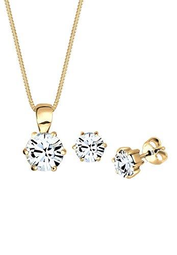 Elli Damen-Schmuckset Halskette + Ohrringe Basic 925 Silber teilvergoldet gold Rundschliff Kristall - 0902410817_45 - 45cm Länge