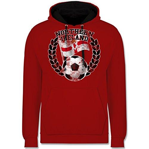 Fußball - Northern Ireland Flagge & Fußball Vintage - Kontrast Hoodie Rot/Schwarz
