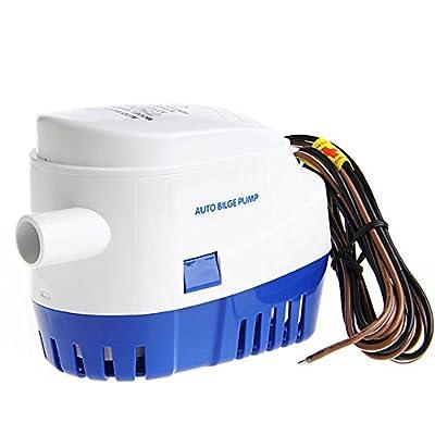 Nuzamas 12V 1100GPH Bateau Marine automatique submersible Auto Switch Pompe à eau de cale pour caravane Camping Marine Bateau de pêche Petite piscine et les fontaines