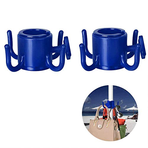 TAGVO Strand Regenschirm hängender Haken, 2pcs 4-Zacken Plastikregenschirm Haken Hängen für Tücher / Hüte / Kleidung / Kamera / Sonnenbrille / Taschen - haltbar, gepasst für Strand, Camping-Reisen