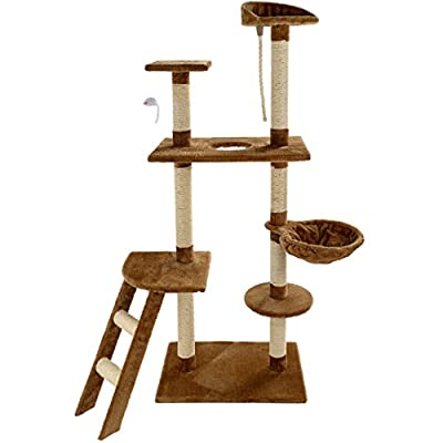 Mool Deluxe Cat Activity Centre and Scratching Tree/ Post/ Multiple Viewing Platforms and Comfy Bed, Large, 145 cm
