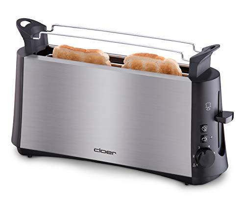 """Cloer 3810 Langschlitztoaster für 2 Toastscheiben / 880 W / StiWa \""""gut\"""" / \""""Graubrot-Funktion\"""" für verschiedene Brotsorten / Brötchenaufsatz / Nachhebevorrichtung / mattiertes wärmeisoliertes Edelstahlgehäuse"""