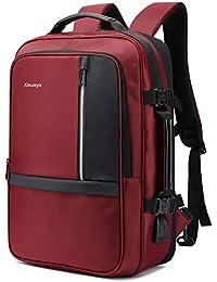 Xnuoyo Mochila para Portátil Hombre, Resistente al Agua Multifuncional Convertible TSA Mochila de Viaje Cabina como Equipaje de Mano Puerto USB de Negocios Trabajo Ordenador (Rojo Oscuro)
