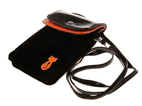Bronze Times Universale Handytasche Geldbeutel Sportstasche mit Katze Fußabdruck und Handschlaufe Schwarz (Standard-bücherregal)