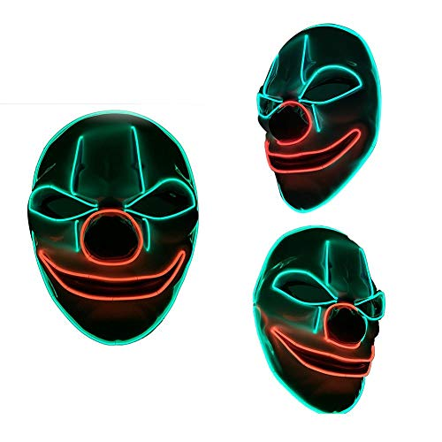 Halloween clown mask maschera luce fredda led adulto uomo travestimento horror night light mask scared vestire puntelli, a
