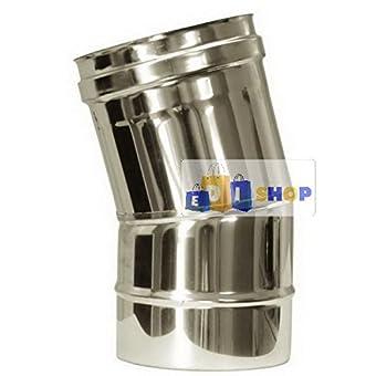 CHEMINEE PAROI SIMPLE TUYAU TUBE INOXIDABLE AISI 316 - dn 250 curva 15° canna fumaria tubo acciaio inox 316 parete semplice