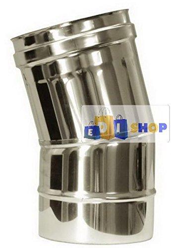 CHEMINEE PAROI SIMPLE TUYAU TUBE INOXIDABLE AISI 316 - dn 220 curva 15° canna fumaria tubo acciaio inox 316 parete semplice
