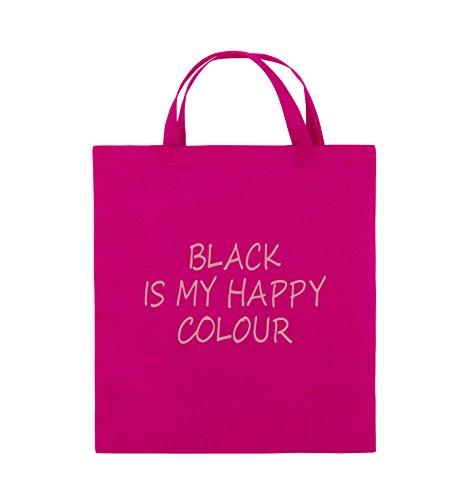Comedy Bags - BLACK IS MY HAPPY COLOUR - Jutebeutel - kurze Henkel - 38x42cm - Farbe: Schwarz / Silber Pink / Rosa
