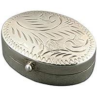 Sterling Silber Geschenk klein graviert Oval Pille Box preisvergleich bei billige-tabletten.eu