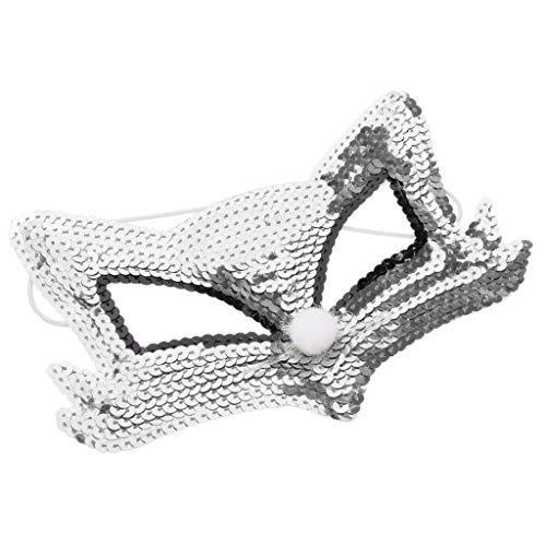 D DOLITY Glitzer Pailletten Lowrie Maske Tiermaske Maskerade/Masquerade Maske für Cosplay, Farbwahl - Silber