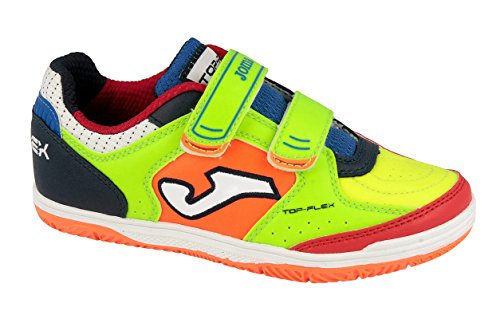 joma-top-flex-jr-zapatos-de-futsal-unisex-ninos-verde-fluor-orange-navy-35-eu