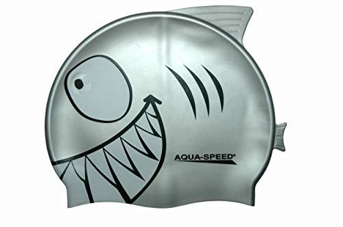 Aquaspeed Shark Kinder Bademütze Hai Badekappe, Modell [A]:Shark/silber 26
