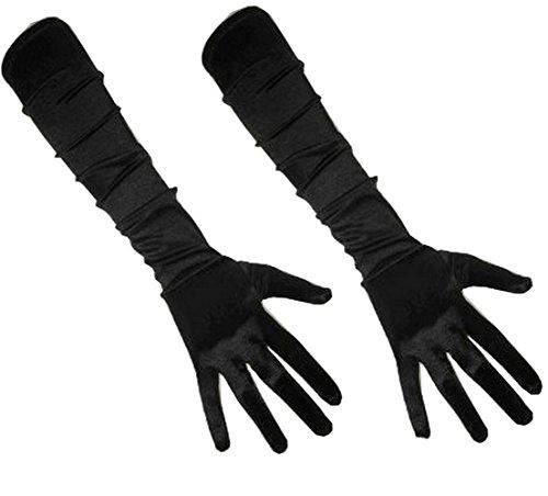 PartyXplosion 2x Damen Handschuhe Elegante ca. 52cm lange Satin Handschuhe Karneval (2x 12074)