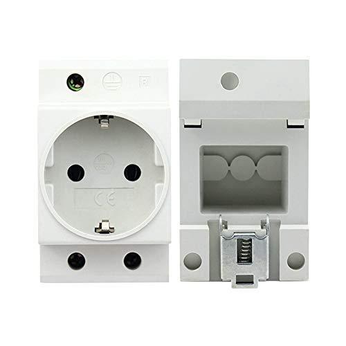 Denret3rgu Modularer Verteilerkasten für 16A-Netzstecker zur Schienenmontage - Weiß -
