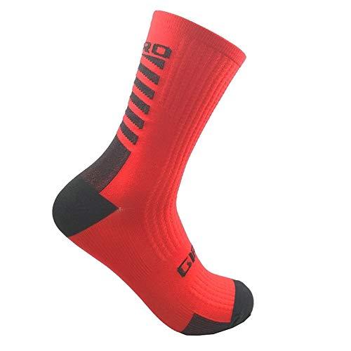 CfMWz Abfahrt MTB Bike Basketball Socken Red verdicken Run Jogging atmungsaktiv warm halten Cozy verdicken UV Schutz Kälteschutz (Size : Free Size (37-44))