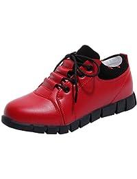 Zapatos Mujer,Mujeres Zapatos de Cuero al Aire Libre Casuales Encajes Suelas cómodas Zapatillas Deportivas Botines Mujer Tacon Moda Casual Planas Zapatos Ankle Boots Botines Martin Zapatos