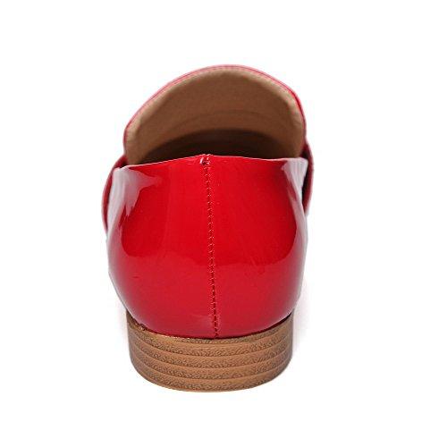 VogueZone009 Damen Lackleder Ziehen Auf Rund Zehe Niedriger Absatz Rein Pumps Schuhe Rot