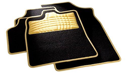 carfashion 254579universal pie | Juego de alfombrillas para escalón Protección y costuras en amarillo | sin soporte, Auto Esterilla apta para muchos tipos Auto