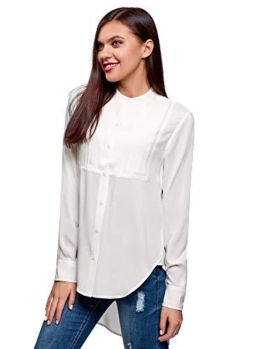 Oodji ultra donna camicetta in viscosa con dorso lungo, bianco, it 40 / eu 36 / xs