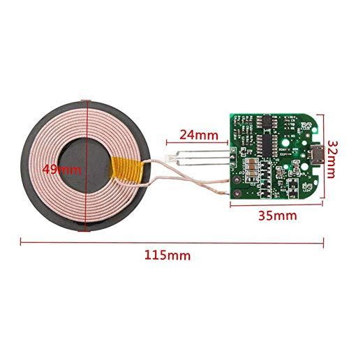 Matedepreso Leiterplatte QI Standard Universal Kabelloses Ladegerät für Smartphone Coil Hochleistung DIY Micro USB Port DC5V High-Efficient Pcba Haltbar (Grün) - Grün, Free Size -