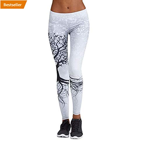 Yoga Hose Yesmile Damen 3/4 Sport Leggings Frauen Yoga Gestreckt Legging Hose Fitness Workout Leggins Elastische Dünne Hosen (Weiß, M)