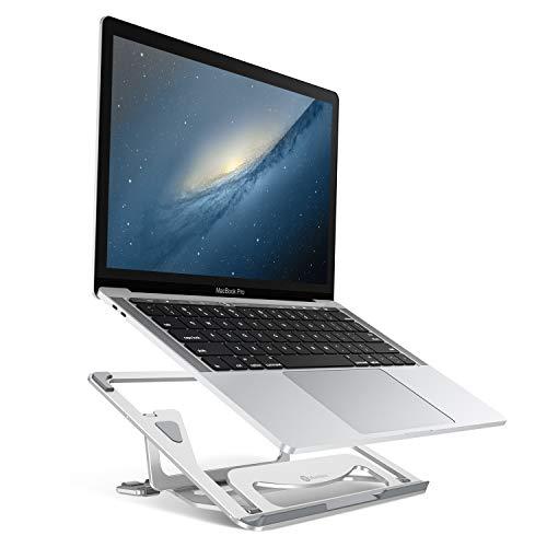 Humixx Laptop Ständer, Faltbarer Notebook Ständer, Aluminium Laptop Stand Kompatibel mit Allen Apple MacBook, MacBook Air, MacBook Pro und Jedem Laptop zwischen 10 und 15,6 Zoll - Silber