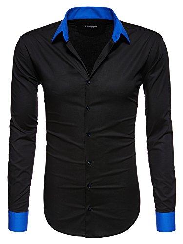 Behype Herren Langarm Business Freizeit Hemd Bügelleicht Slim-Fit 90-0103 Schwarz-Blau 3XL (Schwarzen Anzug, Hemd Blaues)