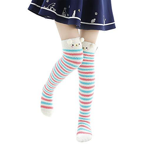 Doublehero Weihnachten Unisex Niedlich Socken Herbst Winter Warme Mode Herren Frauen Lange Elastische Socks Karikatur Tier Shape Paar Stretch Weihnachtssocken (78cm-80cm, Wassermelone Rot)