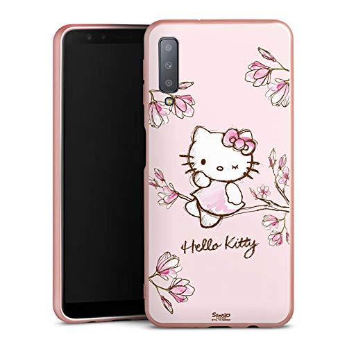 DeinDesign Silikon Hülle Rosé Gold Case Schutzhülle kompatibel mit Samsung Galaxy A7 (2018) Hello Kitty Merchandise Fanartikel Magnolia