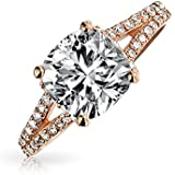 Bling Jewelry Sterling Silver Rose Gold Plated 2ct Cushion Cut CZ Engagement Ring