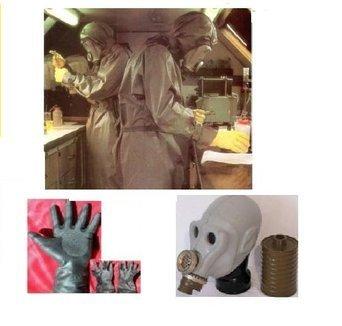 Mit Kostüm Gasmasken - ABC Schutzanzug Strahlenschutzanzug NVA Gasmaske Fasching, Halloween