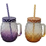 ALTG Pineapple Shape Mason Jars with Lid & Straw - 500 ML (Pack of 2) (Multicolour)